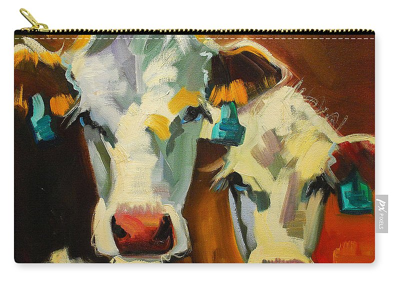 Cow Carry-all Pouch featuring the painting Sibling Cows by Diane Whitehead