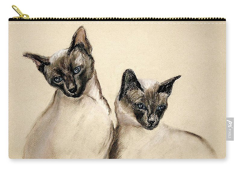 Cat Carry-all Pouch featuring the drawing Sibling Love by Cori Solomon