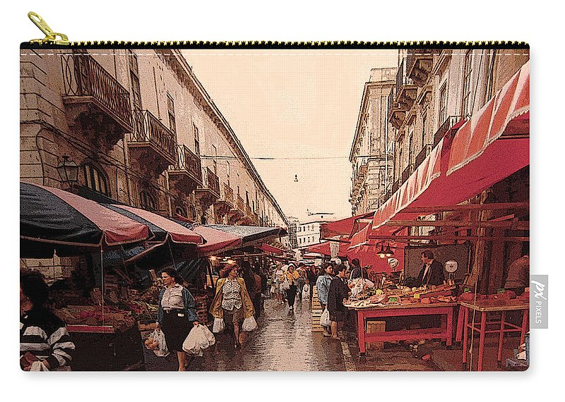 Syracuse Carry-all Pouch featuring the photograph Sicilian Market After The Rain by Ian MacDonald