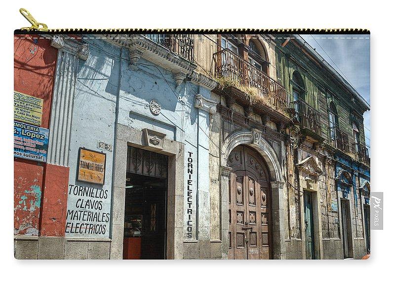 Quezaltenango Carry-all Pouch featuring the photograph Side Street Homes Antiqua Guatemala 3 by Douglas Barnett