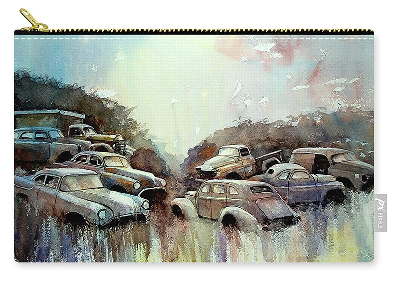 Cars             Trucks Carry-all Pouch featuring the painting Sidehill Retirees by Ron Morrison