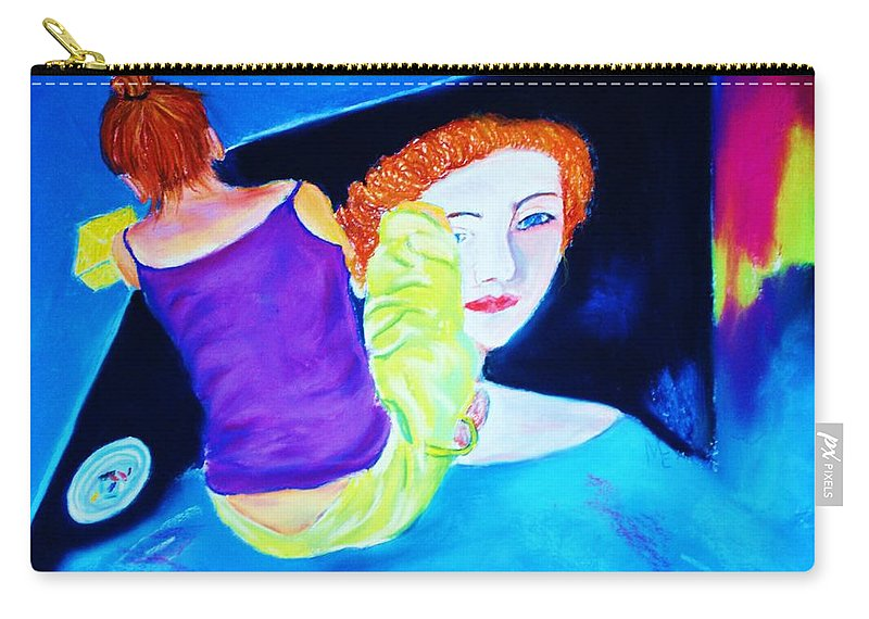 Painting Within A Painting Carry-all Pouch featuring the print Sidewalk Artist II by Melinda Etzold