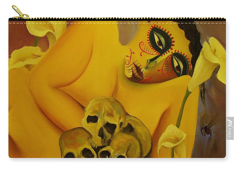 Carry-all Pouch featuring the painting Siempre Flores by Niki Sands