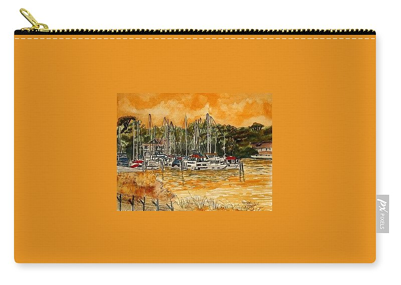 Sailboat Carry-all Pouch featuring the painting Sienna Sky Boat Marina Nautical Art by Derek Mccrea