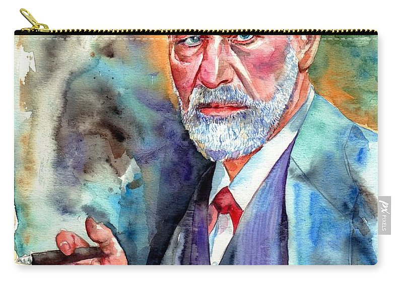 Sigmund Carry-all Pouch featuring the painting Sigmund Freud Painting by Suzann Sines