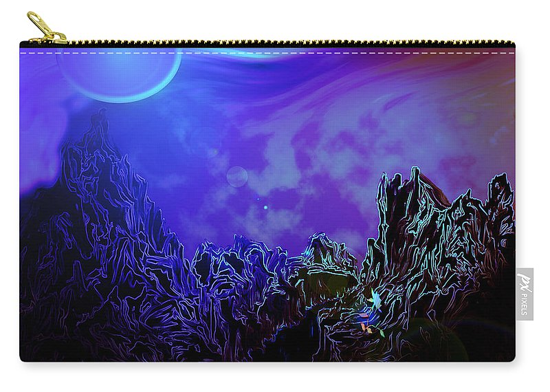 Mountain Moon Flower River Water Planet Sky Life Wild Color Colours Alien Carry-all Pouch featuring the digital art Sign Of Life by Andrea Lawrence