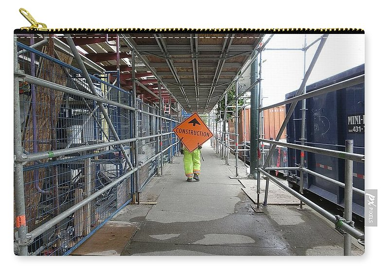 Traffic Carry-all Pouch featuring the photograph Sign Walker by Stuart Matthews