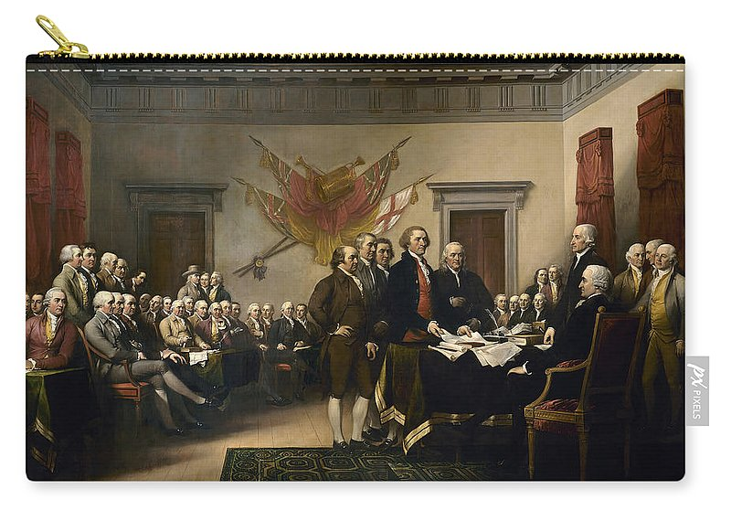 Declaration Of Independence Carry-all Pouch featuring the painting Signing The Declaration Of Independence by War Is Hell Store