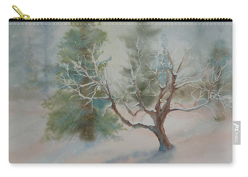 Snow Carry-all Pouch featuring the painting Silence by Ruth Kamenev