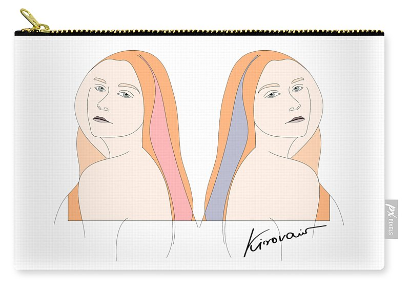 Woman Carry-all Pouch featuring the drawing Silent Eve Mirror- Beautiful Woman Portrait Minimalist Drawing by Iri Kirova
