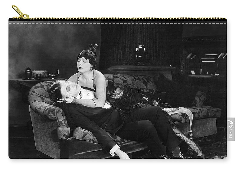 -fainting- Carry-all Pouch featuring the photograph Silent Film Still: Fainting by Granger