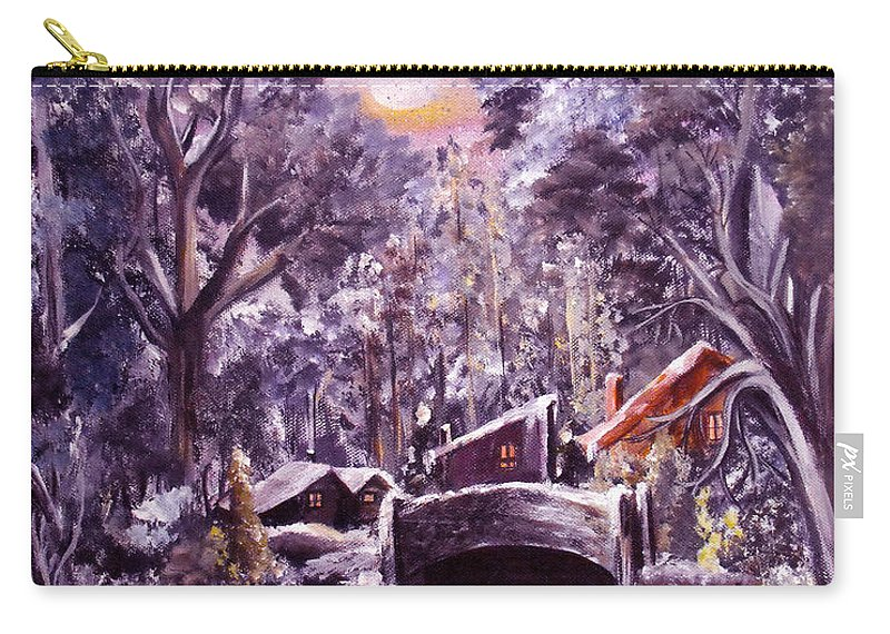 Landscape Carry-all Pouch featuring the painting Silent Night by Ruth Palmer