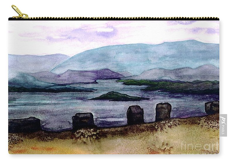 Original Painting Carry-all Pouch featuring the painting Silent Sentinels by Patricia Griffin Brett
