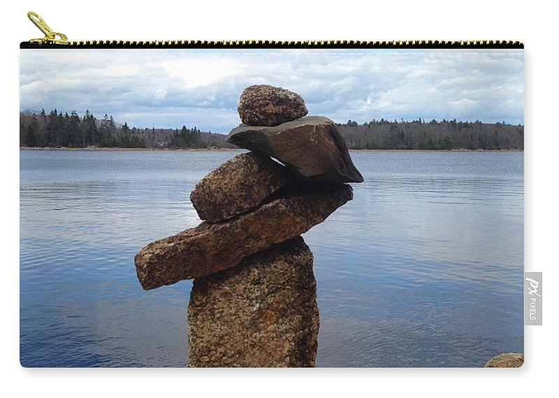 Inukshuk Carry-all Pouch featuring the photograph Silent Watch - Inukshuk On Boulder At Long Lake Hiking Trail by Sylvie Marie
