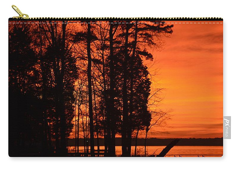 Silhouettes Carry-all Pouch featuring the photograph Silhouette Sunset by Lisa Wooten