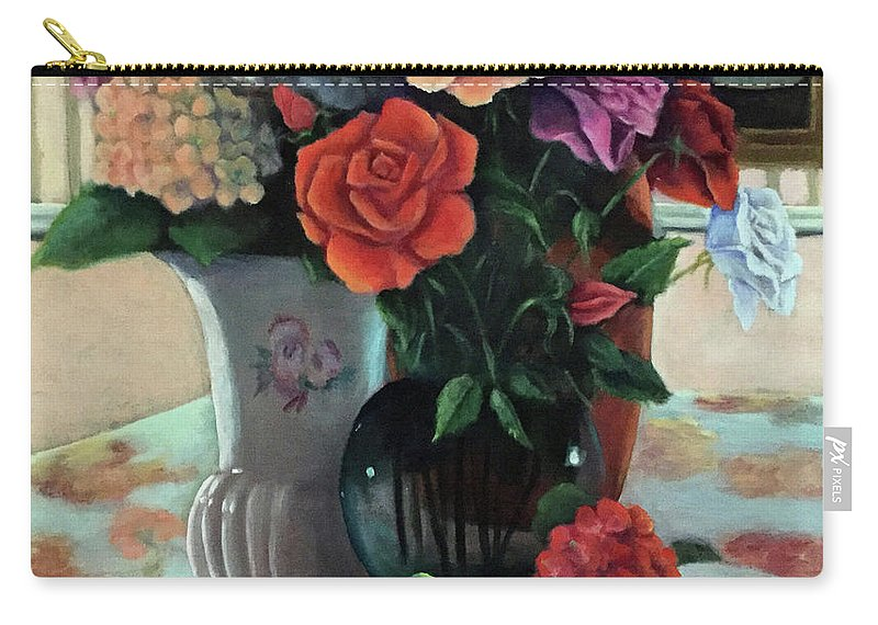 Still Life Carry-all Pouch featuring the painting Silk Flowers by Marlene Book