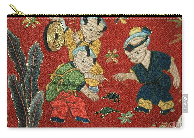 Children Playing Carry-all Pouch featuring the photograph Silk Robe - Children Playing With Turtle by Carol Groenen