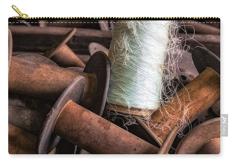 Sewing Carry-all Pouch featuring the photograph Silk Thread Spools by Susan Candelario