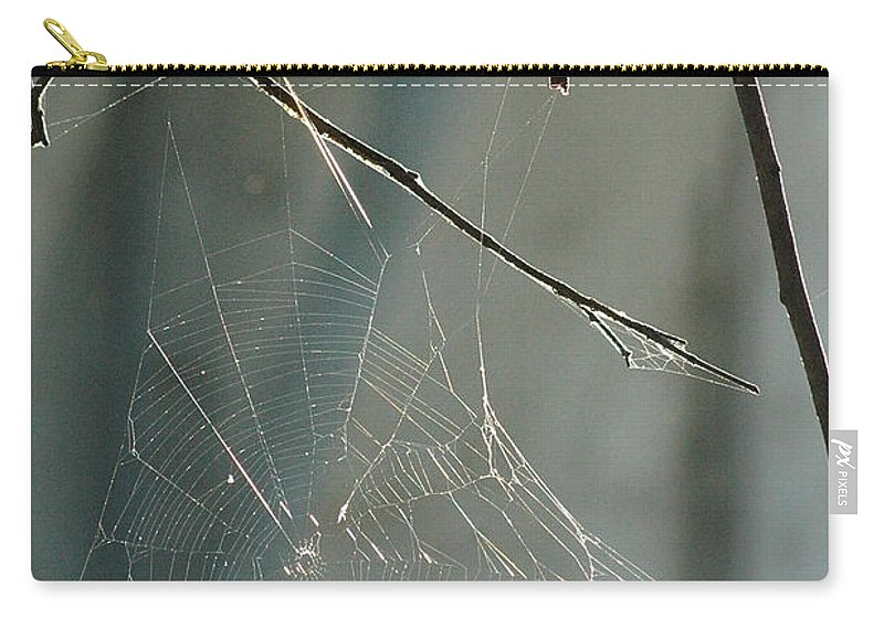 Spider Web Carry-all Pouch featuring the photograph Silken Home by Trish Hale