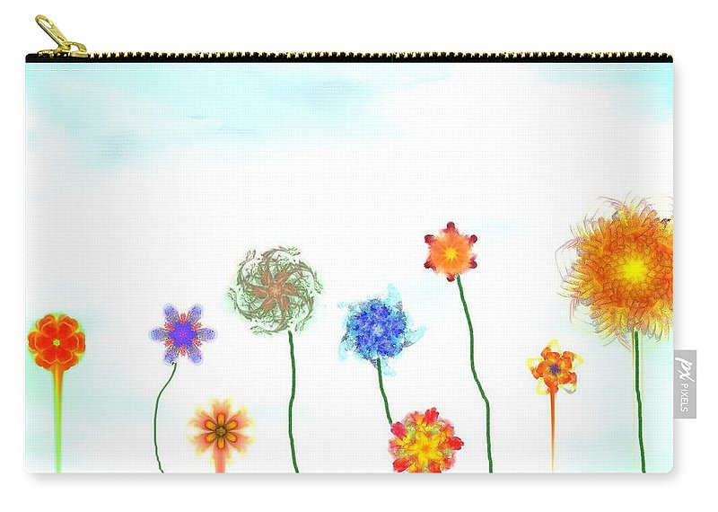 Fantasy Carry-all Pouch featuring the digital art Silly Fractal Garden by David Lane