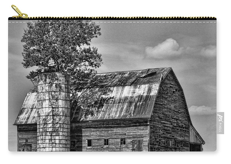 Black And White Carry-all Pouch featuring the photograph Silo Tree Black And White by Kristie Bonnewell