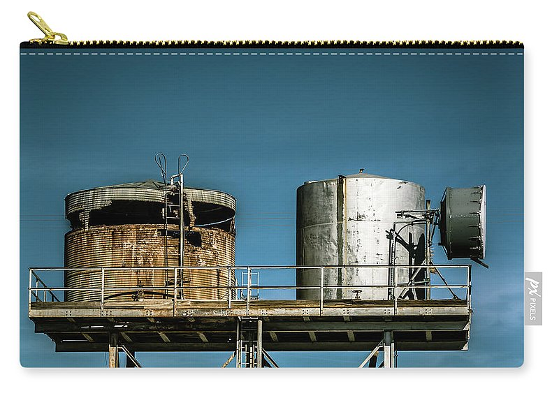 Amboy Carry-all Pouch featuring the digital art Silos On A Shelf by Stevie Benintende