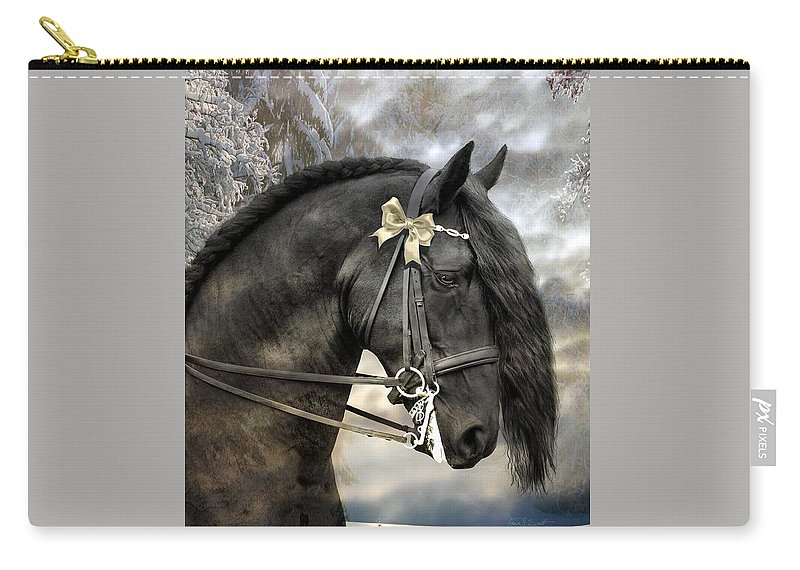Friesian In Snow Carry-all Pouch featuring the mixed media Silver And Gold by Fran J Scott