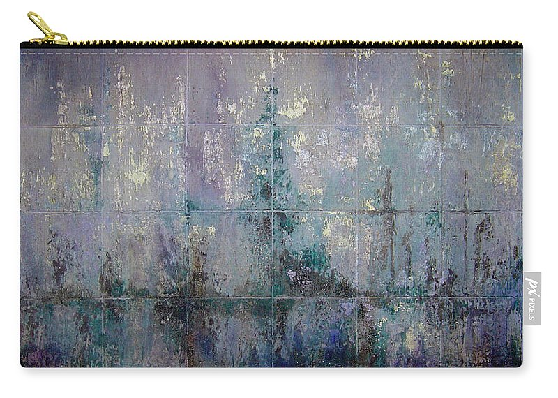 Abstract Carry-all Pouch featuring the painting Silver And Silent by Shadia Derbyshire
