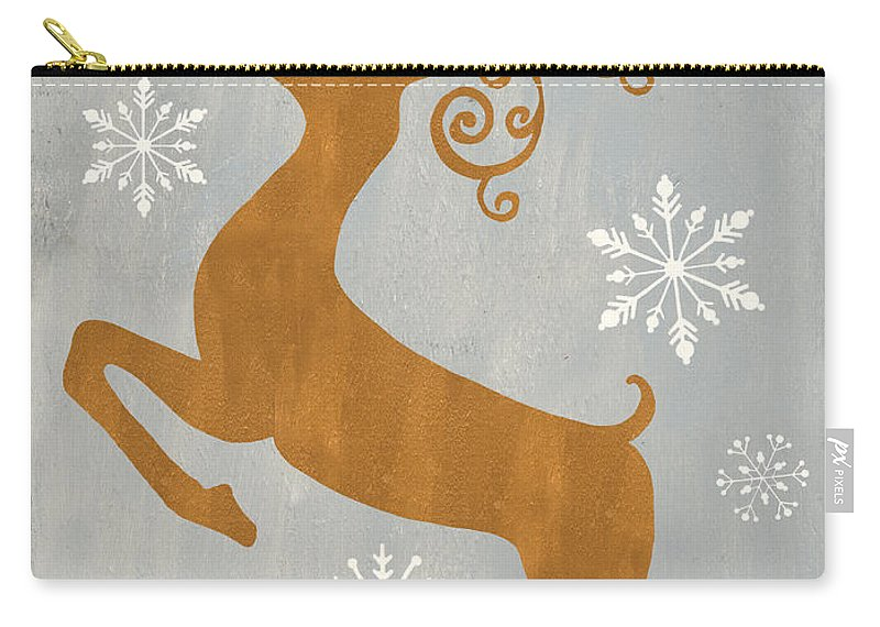 Presents Carry-all Pouch featuring the painting Silver Gold Reindeer by Debbie DeWitt