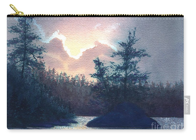 Landscape Carry-all Pouch featuring the painting Silver Lining by Lynn Quinn