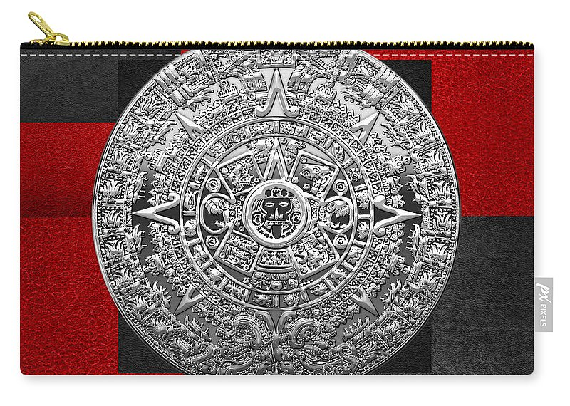 'treasures Of Mesoamerica' Collection By Serge Averbukh Carry-all Pouch featuring the digital art Silver Mayan-aztec Calendar On Black And Red Leather by Serge Averbukh