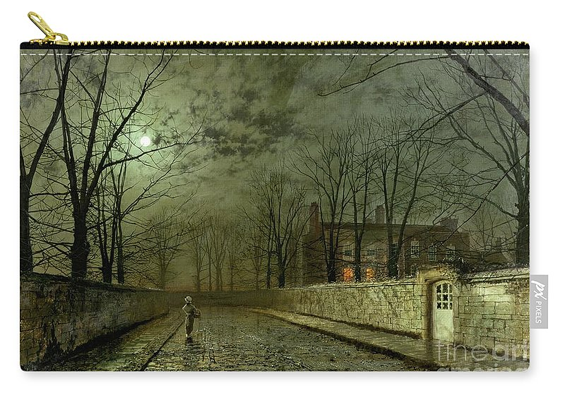 Silver Moonlight Carry-all Pouch featuring the painting Silver Moonlight by John Atkinson Grimshaw