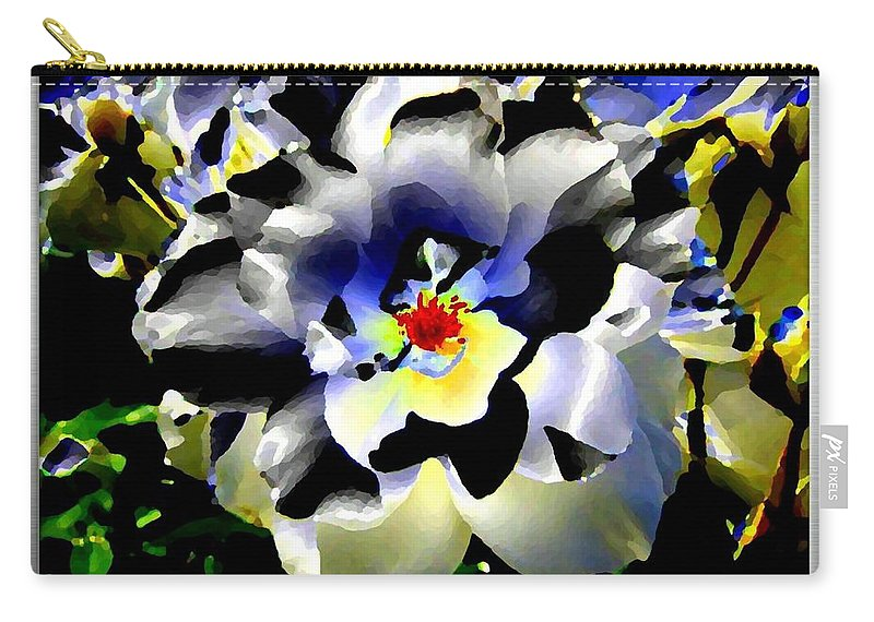 Rose Carry-all Pouch featuring the digital art Silver Rose by Will Borden