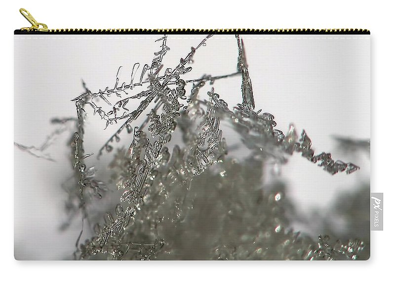 Macro Carry-all Pouch featuring the photograph Silver Snow by Lauren Radke