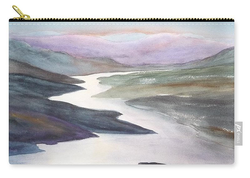 River Carry-all Pouch featuring the painting Silver Stream by Ruth Kamenev