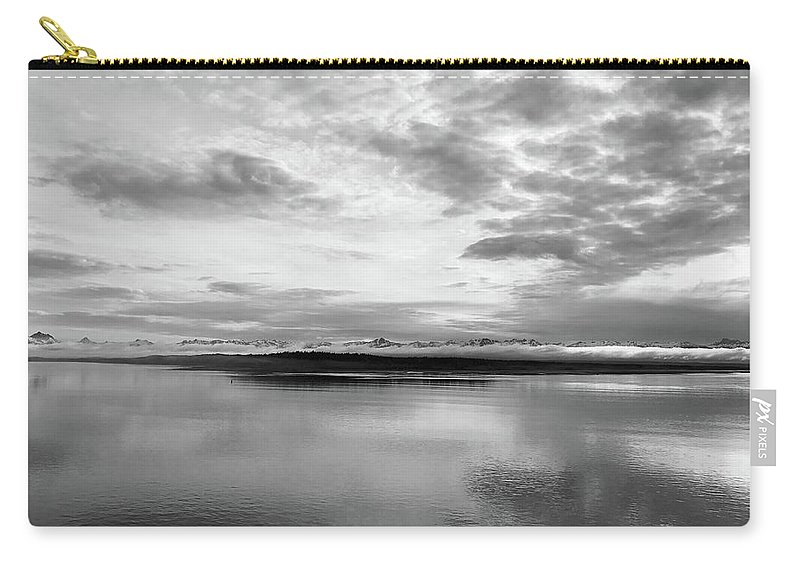 Silver Sunrise Alaska Nature Pacific Ocean Juneau Early Morning Inspire Day Encourage Clouds Sky Landscape Monochrome Black White Carry-all Pouch featuring the photograph Silver Sunrise by Russell Keating