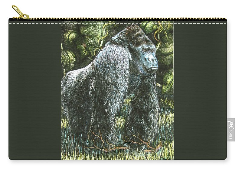Fuqua - Artwork Carry-all Pouch featuring the drawing Silverback-king Of The Mountain Mist by Beverly Fuqua
