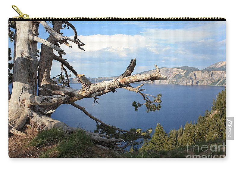 Crater Lake Carry-all Pouch featuring the photograph Silvery Tree Over Crater Lake by Carol Groenen