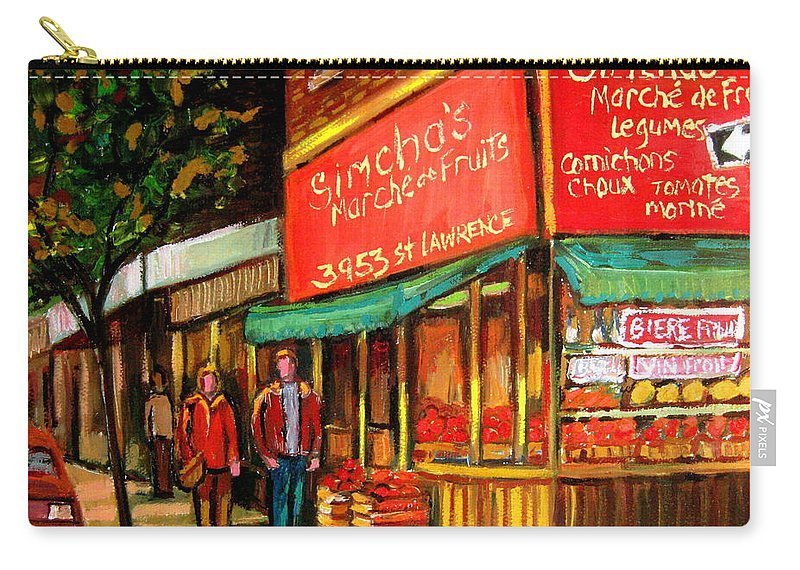 Simchas Fruit Store Carry-all Pouch featuring the painting Simchas Fruit Store by Carole Spandau