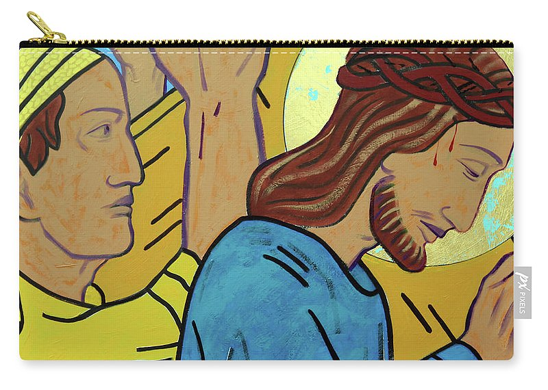 Simon Of Cyrene Carry-all Pouch featuring the painting Simon Helps Jesus by Sara Hayward