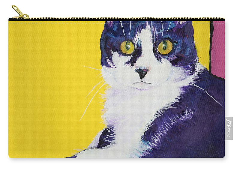 Tuxedo Cat Carry-all Pouch featuring the painting Simon by Pat Saunders-White