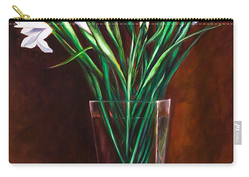 Iris Carry-all Pouch featuring the painting Simply Iris by Shannon Grissom
