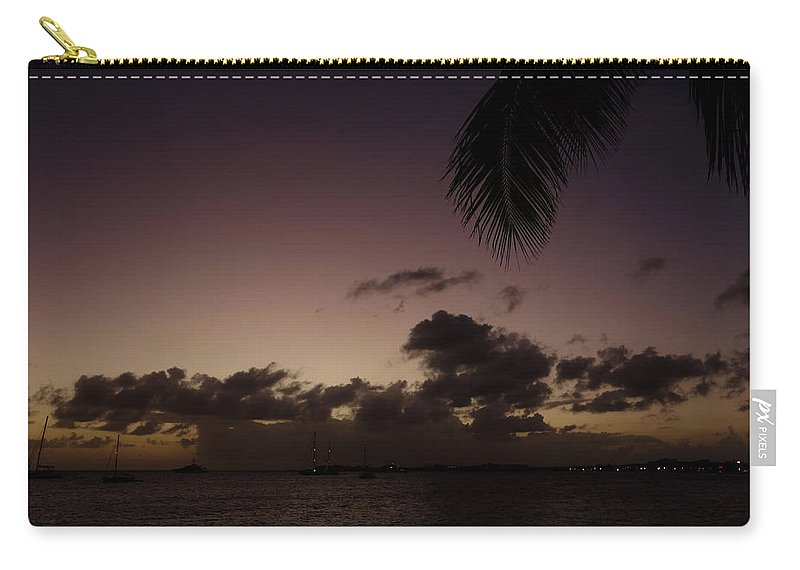 Simpson Carry-all Pouch featuring the photograph Simpson Bay Purple Sunset Saint Martin Caribbean by Toby McGuire