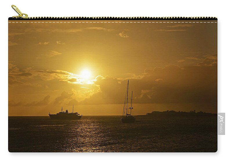 Simpson Carry-all Pouch featuring the photograph Simpson Bay Sunset Saint Martin Caribbean by Toby McGuire