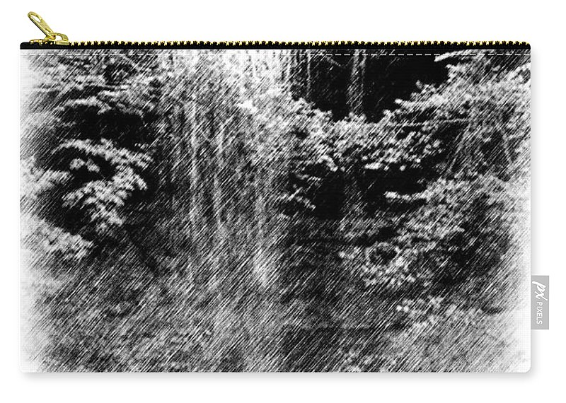 Digital Photograph Carry-all Pouch featuring the photograph Simulated Pencil Drawing Tinker Falls. by David Lane