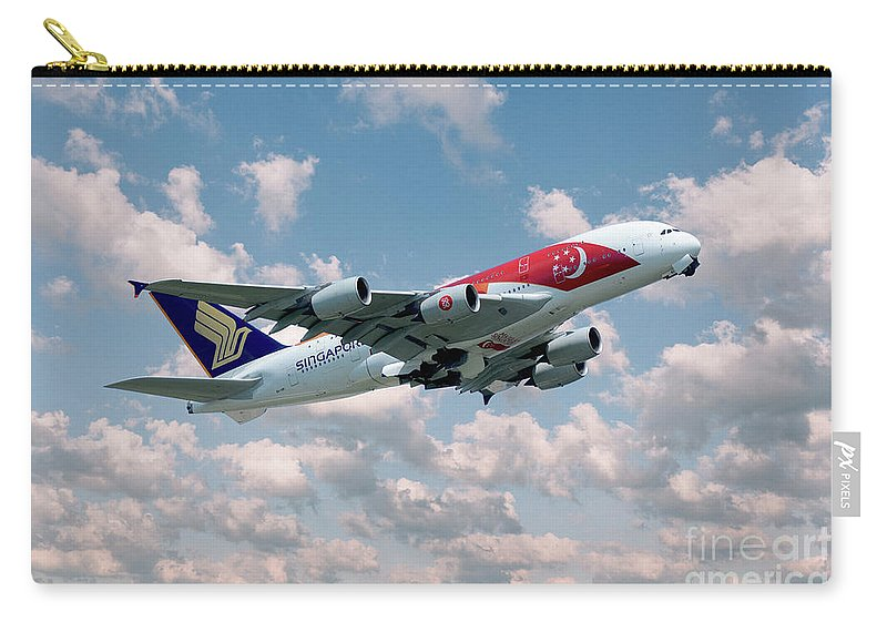 A380 Carry-all Pouch featuring the digital art Singapore A380-800 9v-ski by J Biggadike