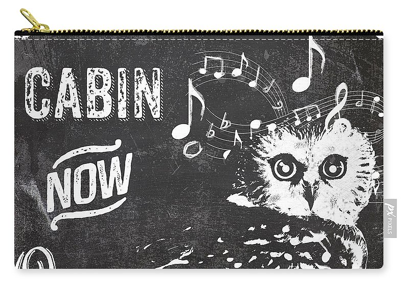Chalk Carry-all Pouch featuring the painting Singing Owl Cabin Rustic Sign by Mindy Sommers
