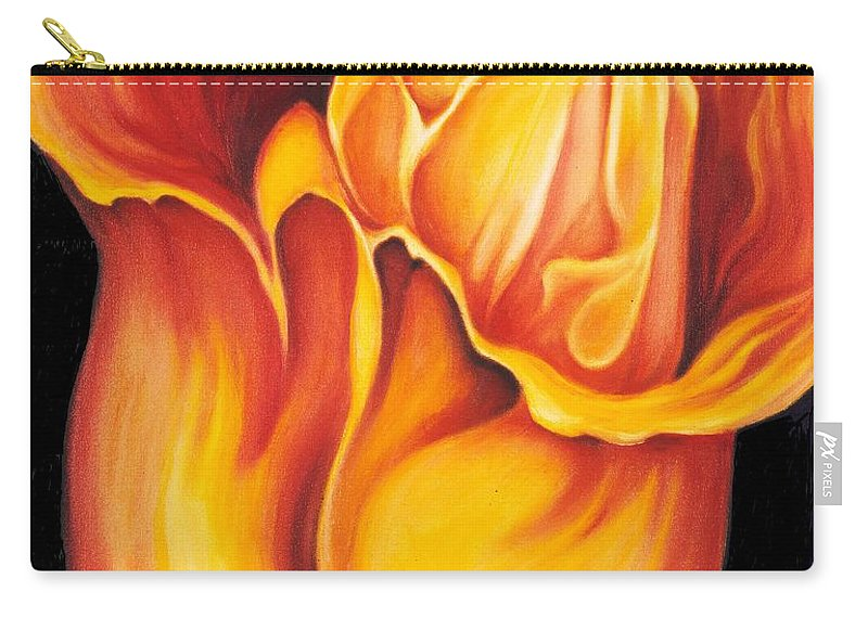 Surreal Tulip Carry-all Pouch featuring the painting Singing Tulip by Jordana Sands