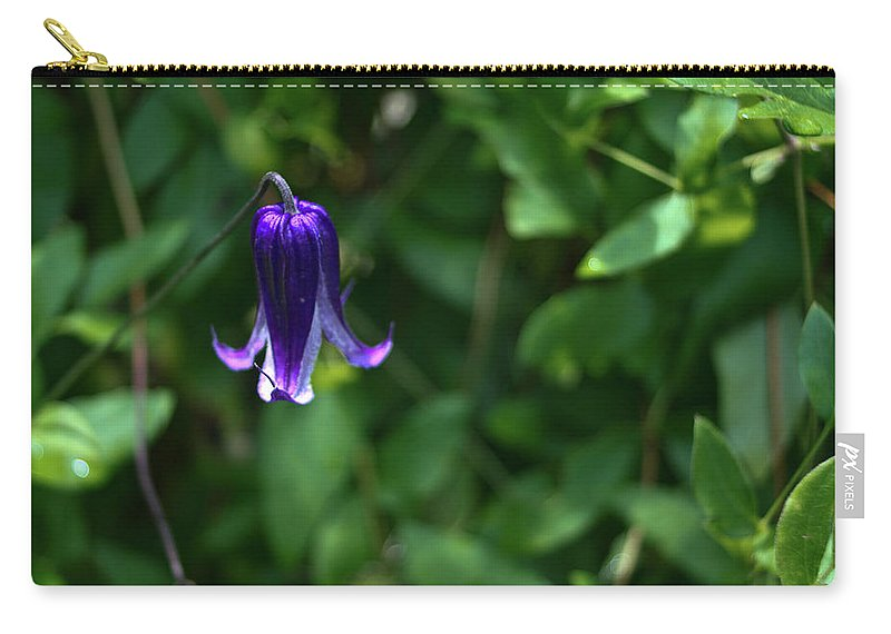 Single Carry-all Pouch featuring the photograph Single Clematis Bell Blossom by Douglas Barnett