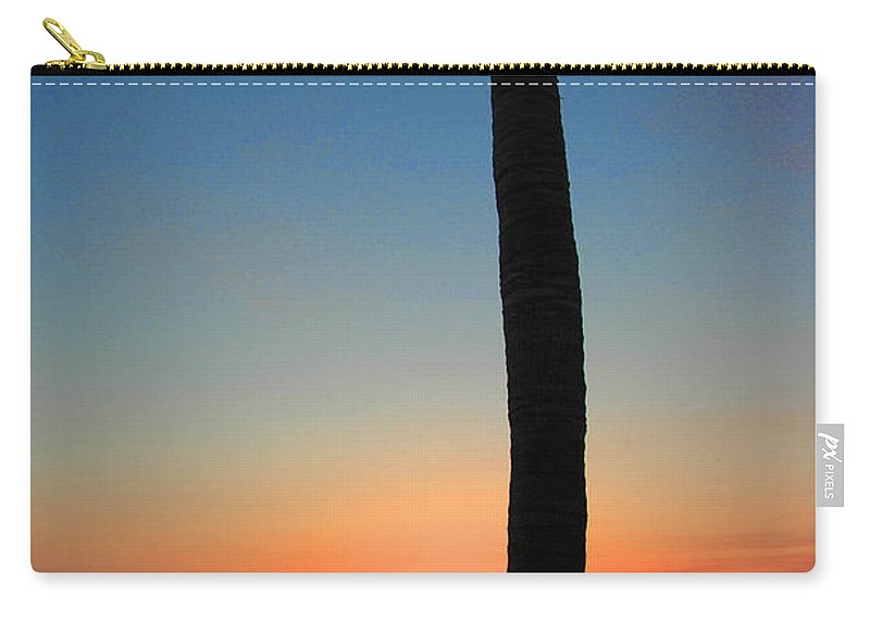 Photography Carry-all Pouch featuring the photograph Single Palm And Sunset by Susanne Van Hulst